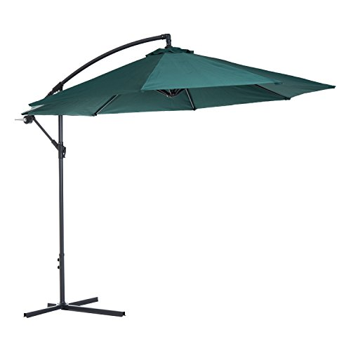 Outsunny 10' Cantilever Hanging Tilt Offset Patio Umbrella with Stand - Green