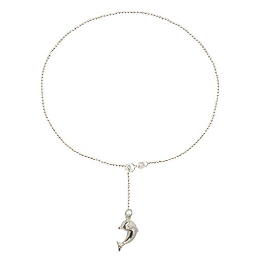 LeCalla Sterling Silver Jewelry Dolphin Charm Ball Chain Anklet for Women