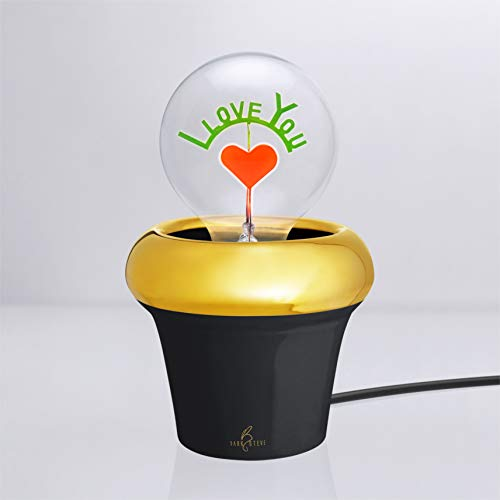 Royal Pot - Black porcelain | Novelty Night Light | Lamp x 1pc (Light Bulb Not Included) | Special Offer and Product Promotion, Get Free Light Bulb | 1-Year Warranty (Light Bulb not applied) - Applied Porcelain Flowers