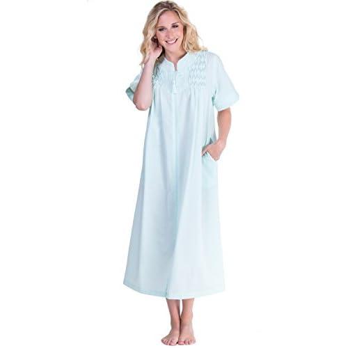 Miss Elaine Womens Plus Size Seersucker Solid Long Zipper Robe 80