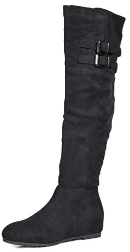 DREAM PAIRS Women's Newtown Black Suede Over The Knee Thigh High Winter Boots Size 8.5 M US