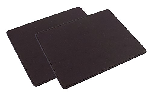 Rosso Biano Quality Leatherette Dark Brown Mouse Pad Mat - Dark Brown (2-Pack)