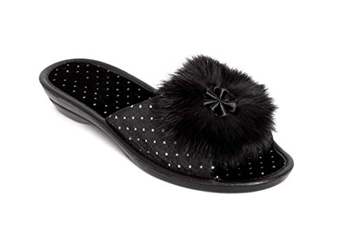 BELSTA Womens Slippers for Women with Rabbit Fur for Indoor and Outdoor Stylish Durable and Comfortable Black