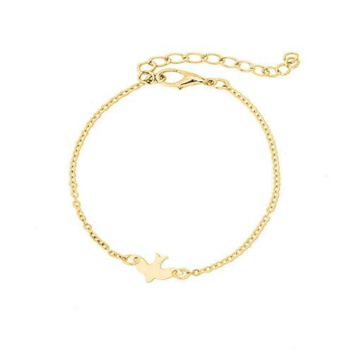 Brosco Cute Simple Woman Lovely Bird Bracelet Bangle Accessories Peace Dove Bracelet Charm Bracelets Fashion Accessory Best Accesories | Color - Gold