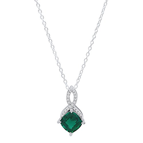 14K White Gold 7 MM Cushion Cut Lab Created Emerald & Round White Diamond Pendant With Silver Chain