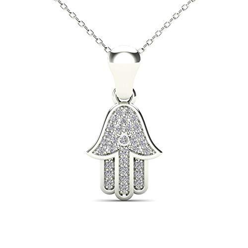 JewelAngel Women's 14K White Gold Diamond Hamsa Pendant Necklaces (H-I, I1-I2)