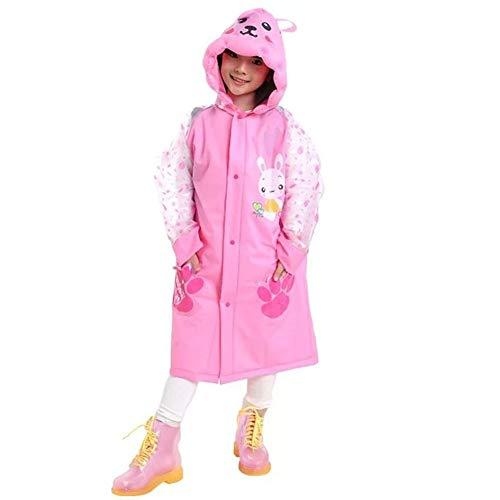 Sywwlov Kids Toddler Raincoat Hooded School Backpack Reusable Rain Ponchos Cape Jacket Rainwear (Pink, M(Fit 42.9''-46.8'' Height)) by Sywwlov