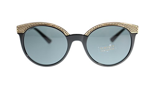 Versace Women Round Sunglasses VE4330 GB1/87 Black/Grey Lens 53mm Authentic