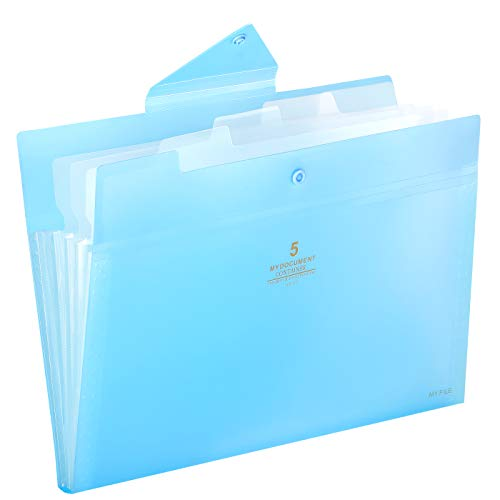 (Skydue Expanding File Folders 5 Pockets File Folder with Snap Closure A4 and Letter Size Accordion Document Paper Organizer for Home School Office (Blue))