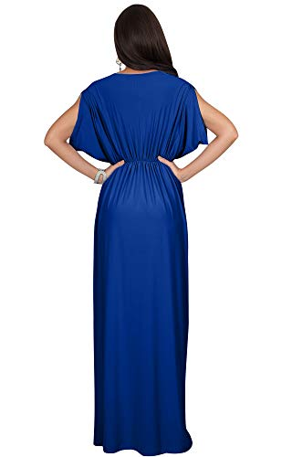 KOH Long Bridesmaid Cobalt KOH Wrap Neck Dress Cocktail V Womens Sleeve Royal Blue Dolman Maxi rFrqfx