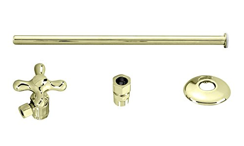 Polished Brass Westbrass D1812T-01 Toilet Kit Stop and Flat Head Riser with Cross Handle, Polished Brass