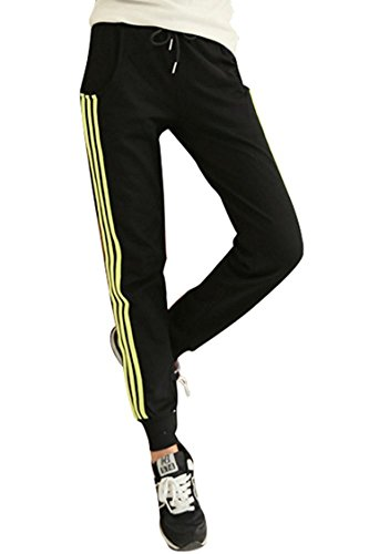 YLcabin pants Women's Side Stripe Casual Harem Pants Cotton Drawstring Sports Sweatpants,Small,Black