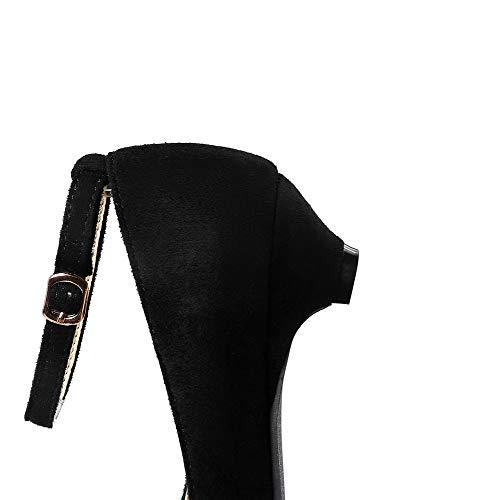 À Talon Pointu Suédé Agoolar Noir Chaussures Couleur Gmbda015937 Boucle Bas Femme Unie Légeres wXq14