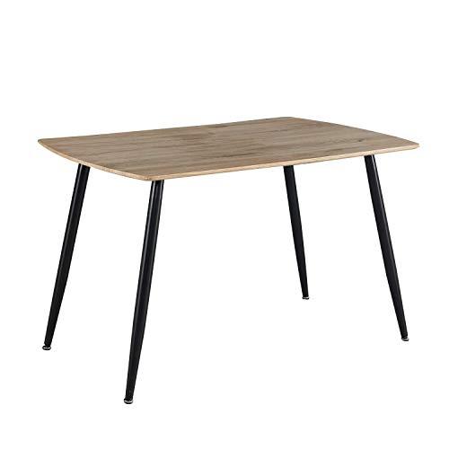 Adec - Suecia, Mesa de Comedor, Mesa de Salon o Comedor Fija, Color Roble y Negro, Medidas: 120 cm (Largo) x 80 cm (Ancho) x 75 cm (Alto)