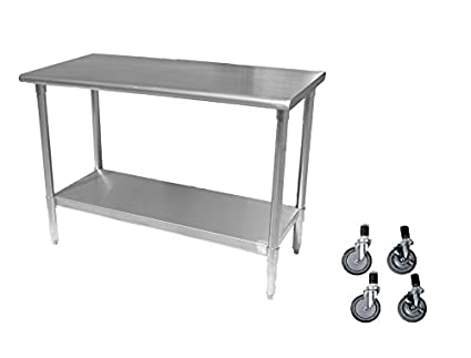 Stainless Steel Prep Work Table 18 X 48 With Casters   NSF   Heavy Duty