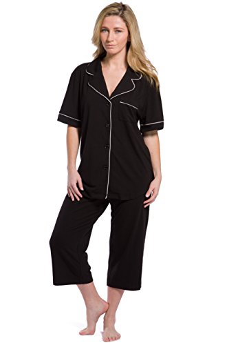 Fishers Finery Women's Pajama Ecofabric Capri Set - (Black, XL)