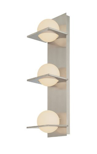 Alico Industries BV9133-10-16M Orbit Collection 3-Light Vertical Vanity Fixture, Matte Satin Nickel Finish with White Opal Glass Orbs by Alico Industries