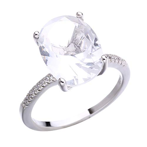 DONGMING Simulated Diamond Engagement Ring for Women Faux Gemstone CZ Promise Ring Wedding Band Jewelry,Silver,8
