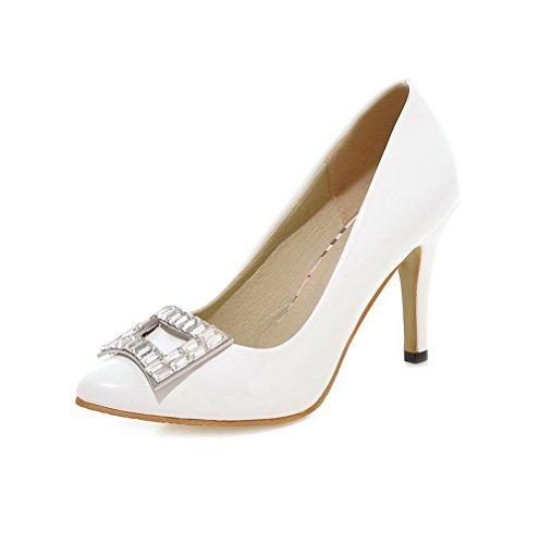 VogueZone009 Damen Ziehen auf Hoher Absatz PU Leder Eingelegt Spitz Zehe Pumps Schuhe Weiß