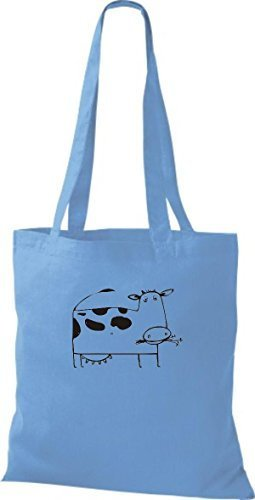 ShirtInStyle Bolsa de tela Bolsa de algodón Divertida Animales Muchacho De Vaca - verde lima, 38 cm x 42 cm azul claro