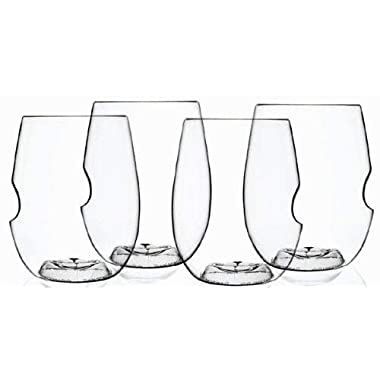 Govino Go Anywhere Dishwasher Safe Flexible Shatterproof Recyclable Wine Glasses, 16-ounce, Set of 4