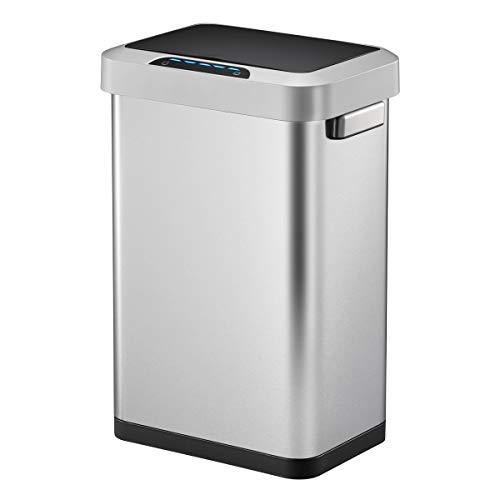 EKO Horizon 45 Liter/11.9 Gallon Rectangular Motion Sensor Trash Can, Brushed Stainless Steel Finish