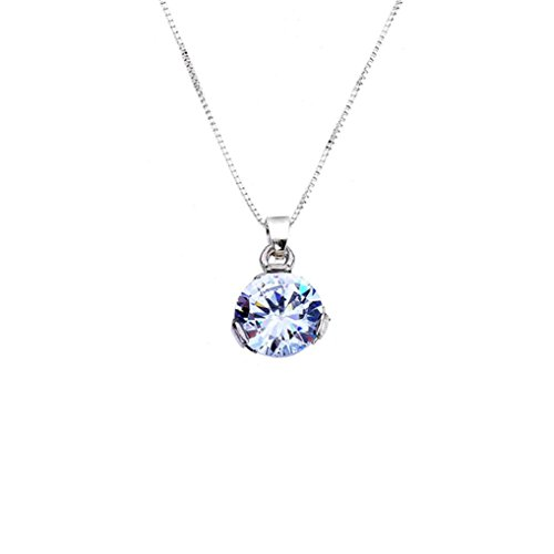 Celendi_Jewelry Single Diamond Zircon Crystal Clavicle Necklace Simple