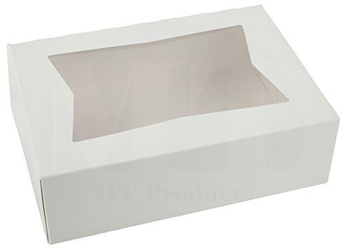 8'' Length x 5 3/4'' Width x 2 1/2'' Height White Kraft Paperboard Auto-Popup Window Pastry/Bakery Box by MT Products (Pack of 15) by MT Products