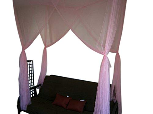 OctoRose Twin Size Single Bed Pink Color 4 Corner/Post Bed Canopy Mosquito Net