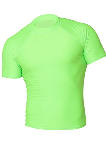 Guard Green T-shirt - INGEAR Rash Guard UV Sun Protection Basic Short Sleeve Sport Beach Surf Shirt (Large, Neon Lime)