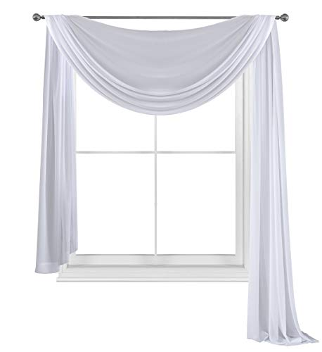 WPM White Elegance Sheer Scarf Valance 216'' Long ()