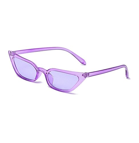 7b14079def Small Frame Skinny Cat Eye Sunglasses for Women Colorful Lens Mini Narrow  Square Retro Cateye Vintage Sunglasses by W Y YING