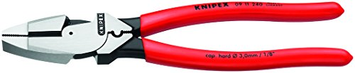 Knipex 09 11 240 SBA 9.5-Inch Ultra-High Leverage Lineman's Pliers with Fish Tape Puller and Crimper