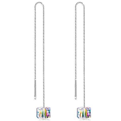 Silver Cube Earrings - OwMell 925 Sterling Silver Dangle Threader Earrings Sparkle Colorful Cube Drop Earrings Jewelry for Women