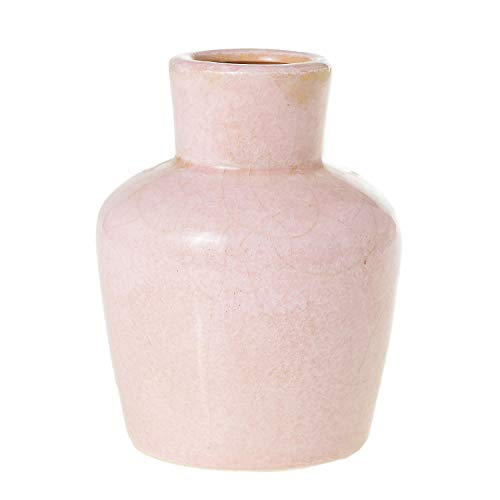 - AC Decor Pastel Pink Ceramic Vase with Crackle Glaze, 5.75