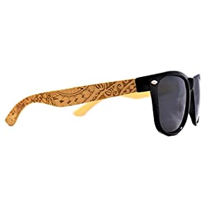 Koa Wood - Wayfarer Bamboo Sunglasses Polarized Lenses By Knock On Wood - Tribal Design (Black, Black) (Black, Black)