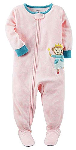(Carter's Girls' 2T-5T One Piece Princess Monkey Fleece Sleep & Play 3T)