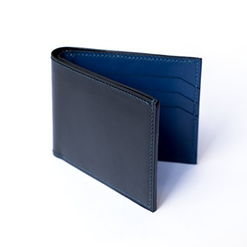 Bifold Green Leather Blue Brown Grain Black Mens With Hand Red Premium Wallet Calf Full Leather Stitch Cicero Blue w6qOt