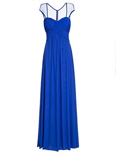 Tanpell Women's Sweetheart Sequins Pick-Ups Short Sleeves Evening Dress Royal Blue US12