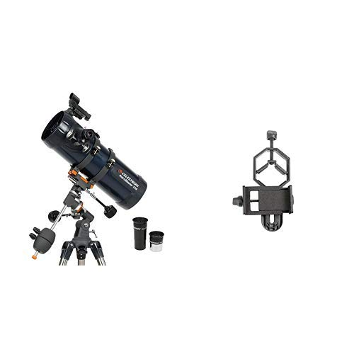 "Celestron 31042 AstroMaster 114 EQ Reflector Telescope with Basic Smartphone Adapter 1.25"" Capture Your Discoveries"