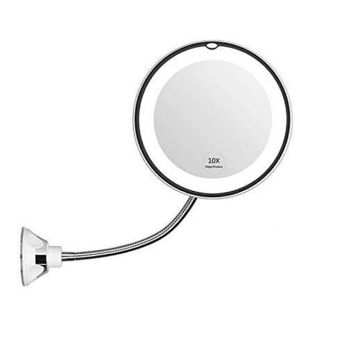 Migaven Espejo de Maquillaje Ampliacion, 10x 360 Grados de Espejo de Maquillaje LED con Luz Flexible con Ventosa para el Bano del Dormitorio Tocador Sala de Maquillaje