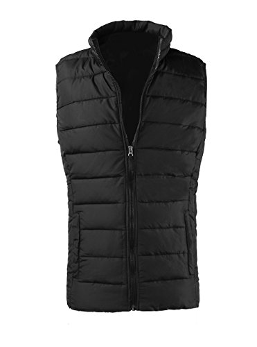 Men's Winter Cotton Padded Vest Outwear Black XX-Large 54