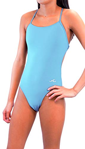 (Adoretex Womens Girls Xtra Life Lycra One Piece Tie-Back Swimsuit (FN028) - Sky Blue - 30)