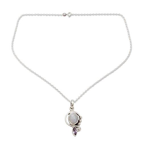 NOVICA Rainbow Moonstone Amethyst .925 Sterling Silver Pendant Necklace, 18