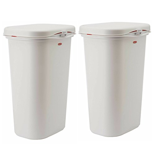 ..Rubbermaid.. Spring-Top Wastebasket, White, 13-Gallon, FG5L5806WHT (2 Pack, White) by ..Rubbermaid..
