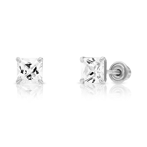 14k White Gold Cubic Zirconia Princess Cut Stud Earrings with Screw Backs (4MM) ()