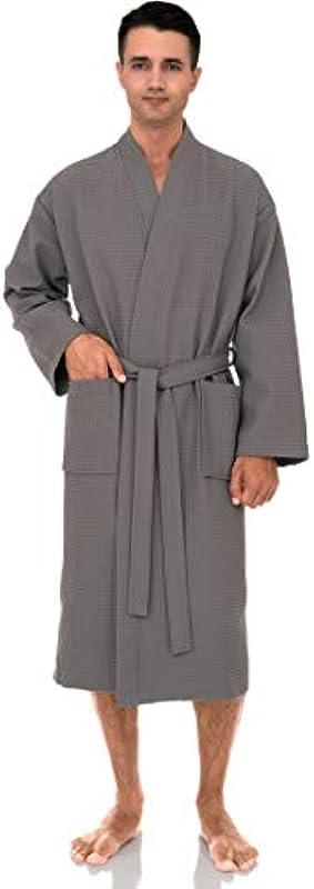 TowelSelections Męskie Waffel Bademantel Türkische Baumwolle Kimono Robe: Odzież
