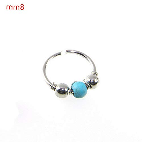 Crookston Nose Ring Turquoise Nostril Hoop Nose Earring Piercing Jewelry 6/8/10mm | Model RNG - 3029 | Silver 8MM - Motif Turquoise Earrings