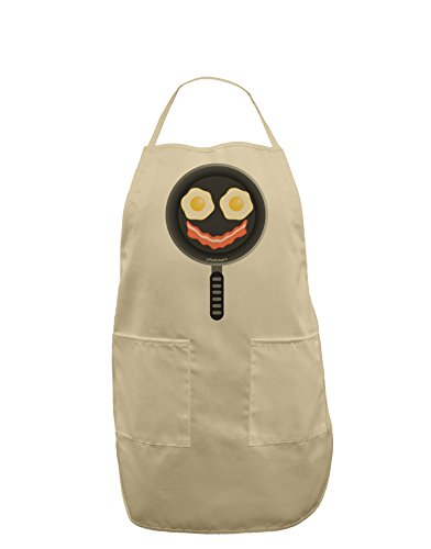 TooLoud Eggs and Bacon Smiley Face Adult Apron - Stone - - Face Smiley Aprons