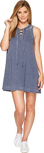 Allen Allen Womens French Terry Tie Front Dress Lapis MD (Women's 8-10) One Size - Allen Allen Womens Clothing